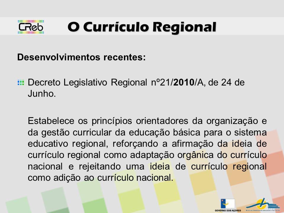 O Currículo Regional Desenvolvimentos recentes:
