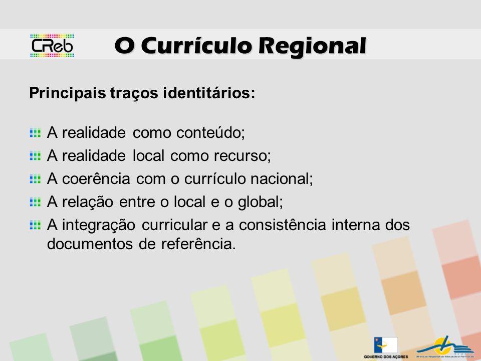 O Currículo Regional Principais traços identitários: