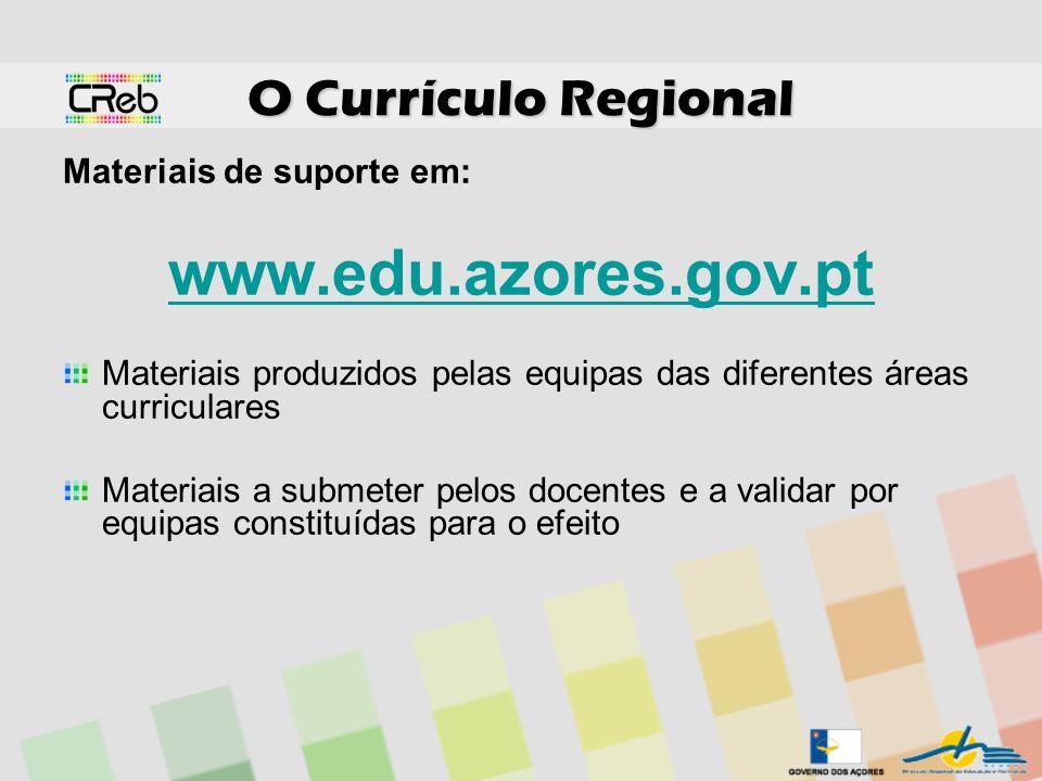 www.edu.azores.gov.pt O Currículo Regional Materiais de suporte em: