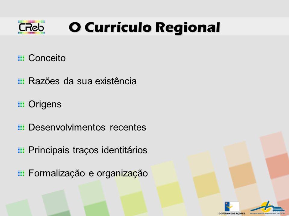O Currículo Regional Conceito Razões da sua existência Origens