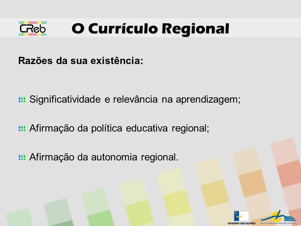 O Currículo Regional Razões da sua existência: