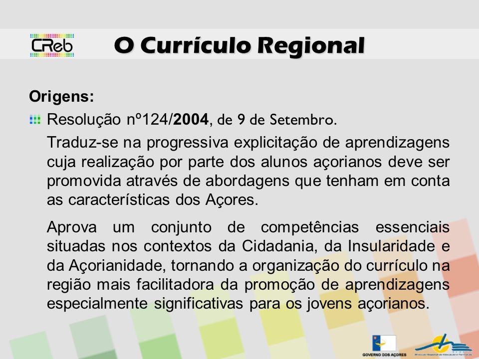 O Currículo Regional Origens: Resolução nº124/2004, de 9 de Setembro.