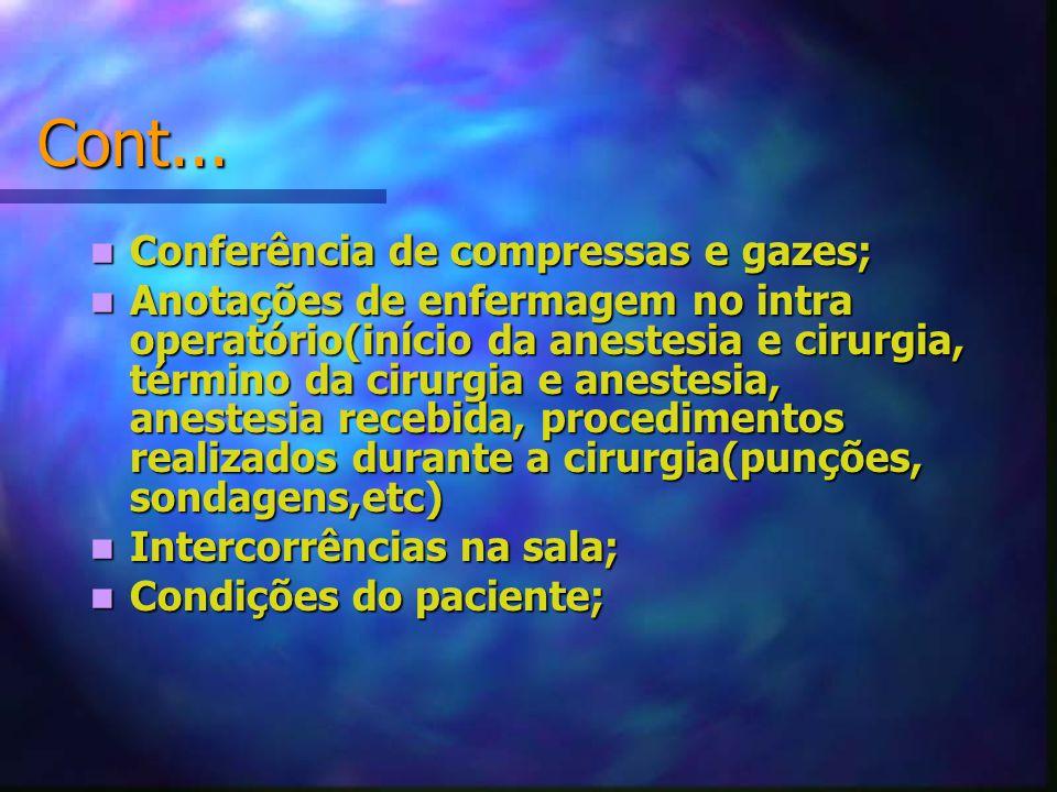 Cont... Conferência de compressas e gazes;