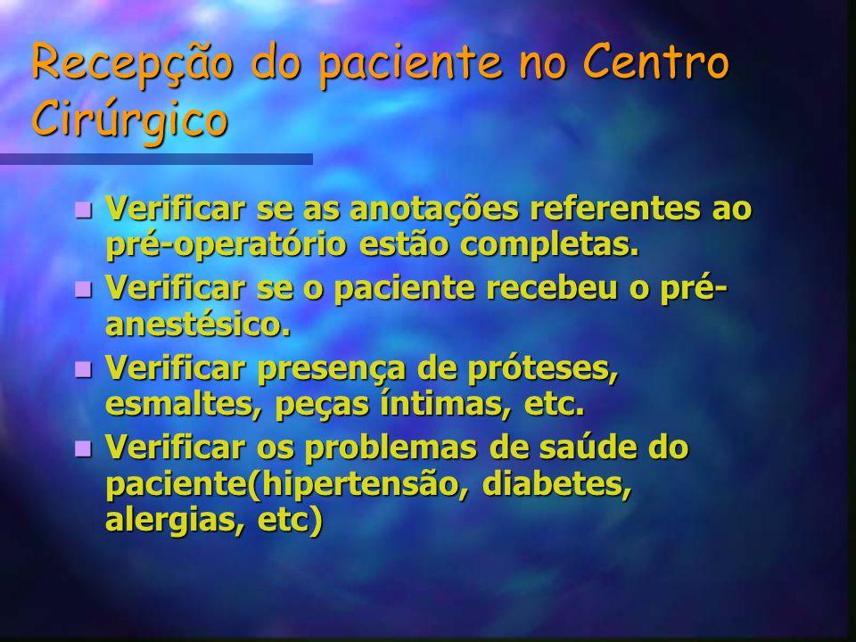 Recepção do paciente no Centro Cirúrgico
