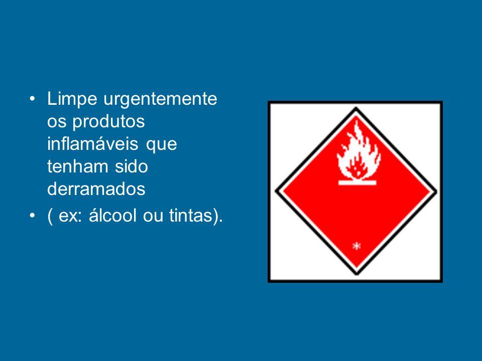 Limpe urgentemente os produtos inflamáveis que tenham sido derramados