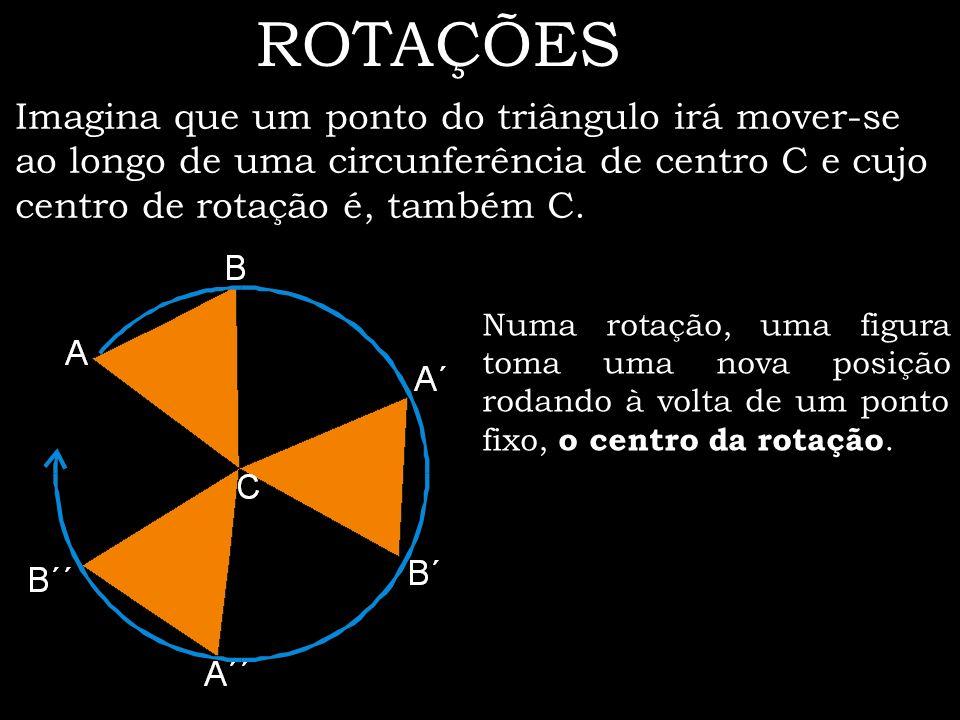 ROTAÇÕES Imagina que um ponto do triângulo irá mover-se