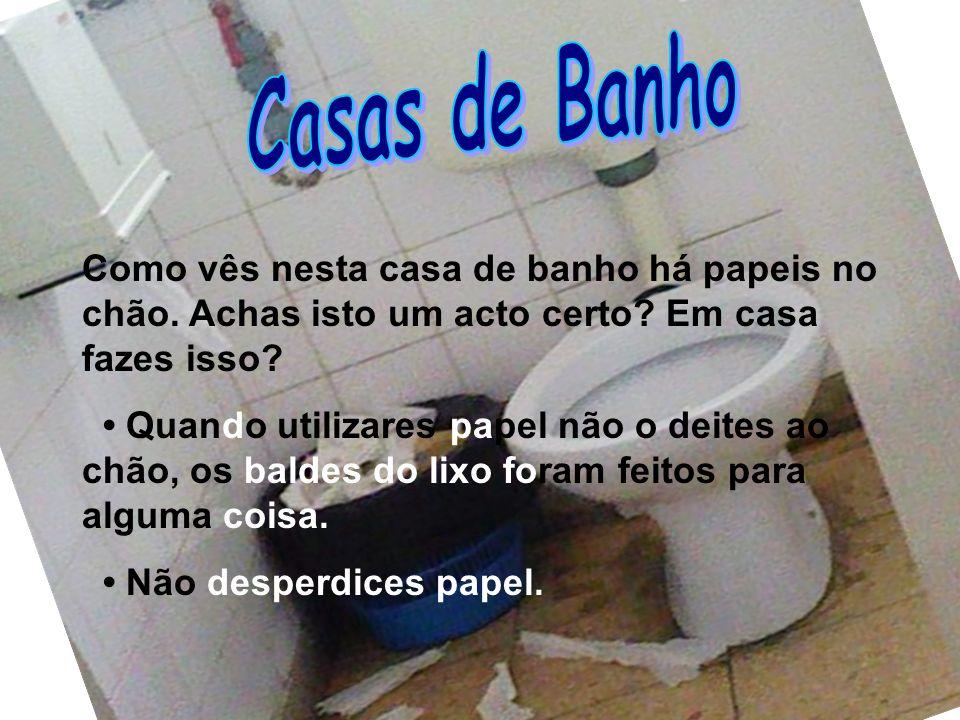 Casas de Banho Como vês nesta casa de banho há papeis no chão. Achas isto um acto certo Em casa fazes isso