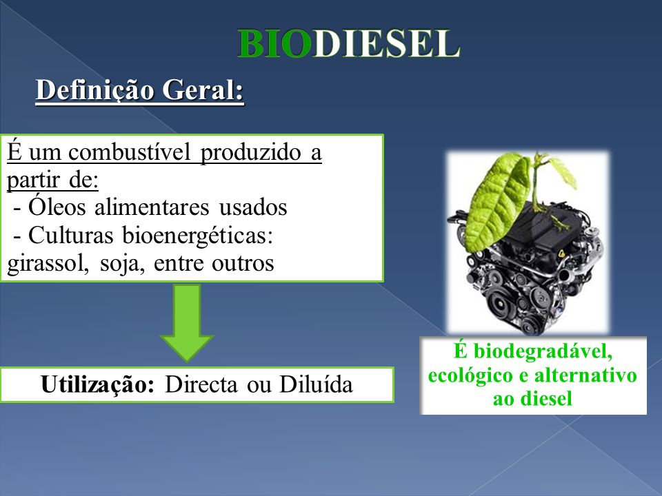 É biodegradável, ecológico e alternativo ao diesel