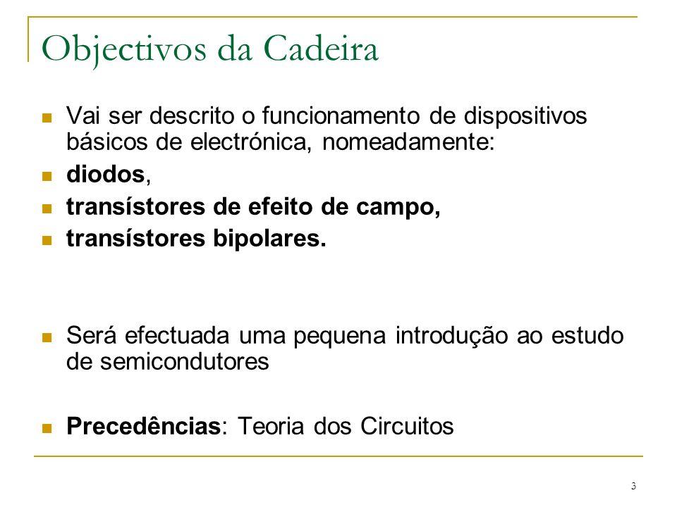 Objectivos da Cadeira Vai ser descrito o funcionamento de dispositivos básicos de electrónica, nomeadamente: