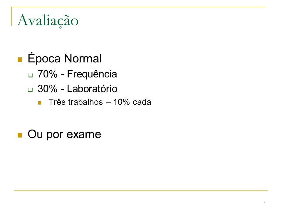 Avaliação Época Normal Ou por exame 70% - Frequência 30% - Laboratório