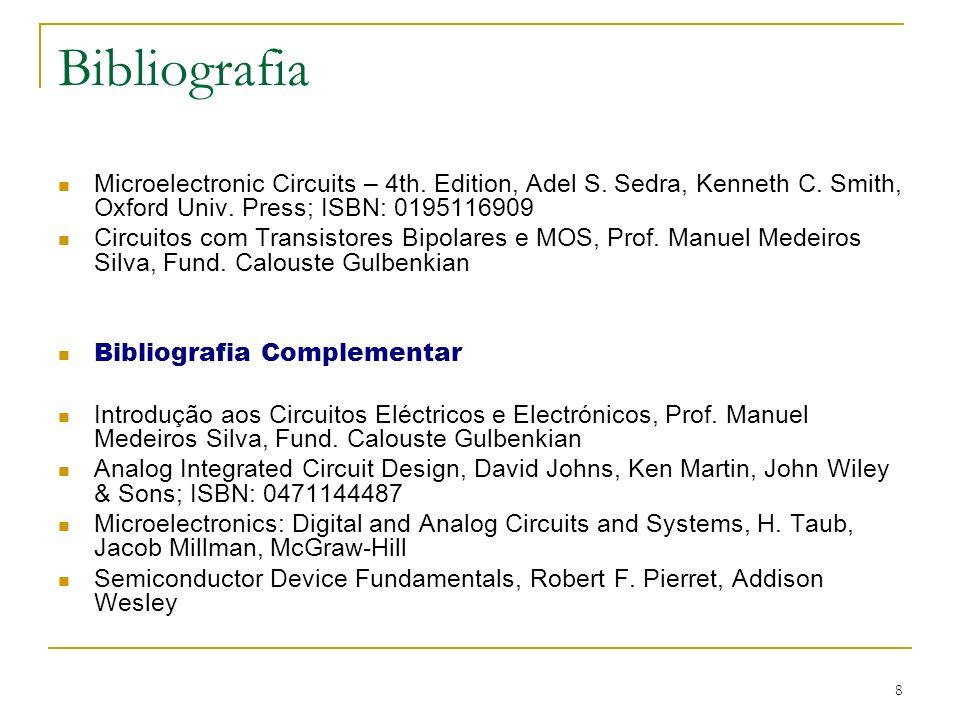 BibliografiaMicroelectronic Circuits – 4th. Edition, Adel S. Sedra, Kenneth C. Smith, Oxford Univ. Press; ISBN: 0195116909.