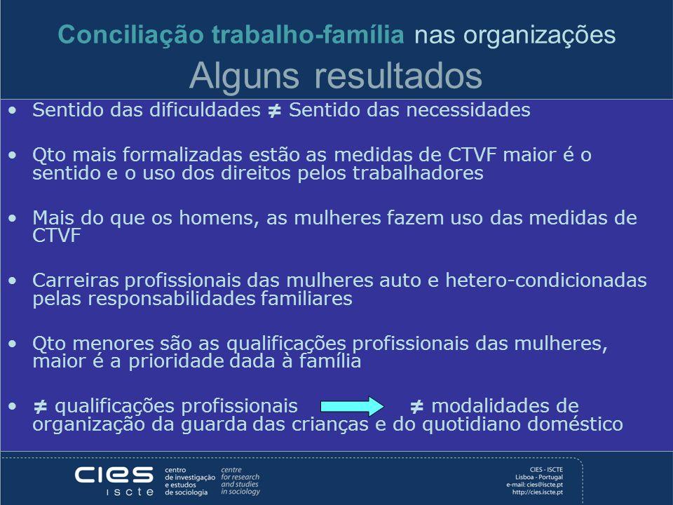 Conciliação trabalho-família nas organizações Alguns resultados