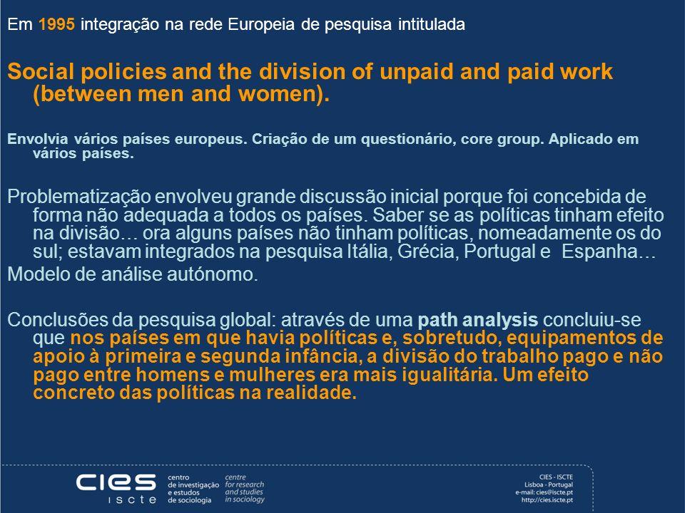 Em 1995 integração na rede Europeia de pesquisa intitulada