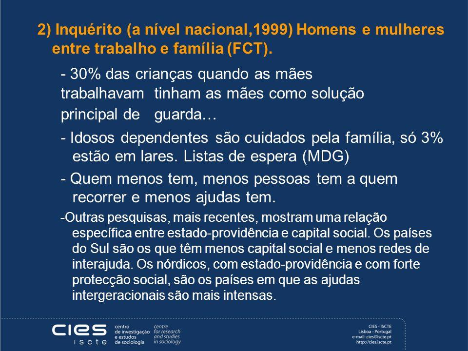 2) Inquérito (a nível nacional,1999) Homens e mulheres entre trabalho e família (FCT).
