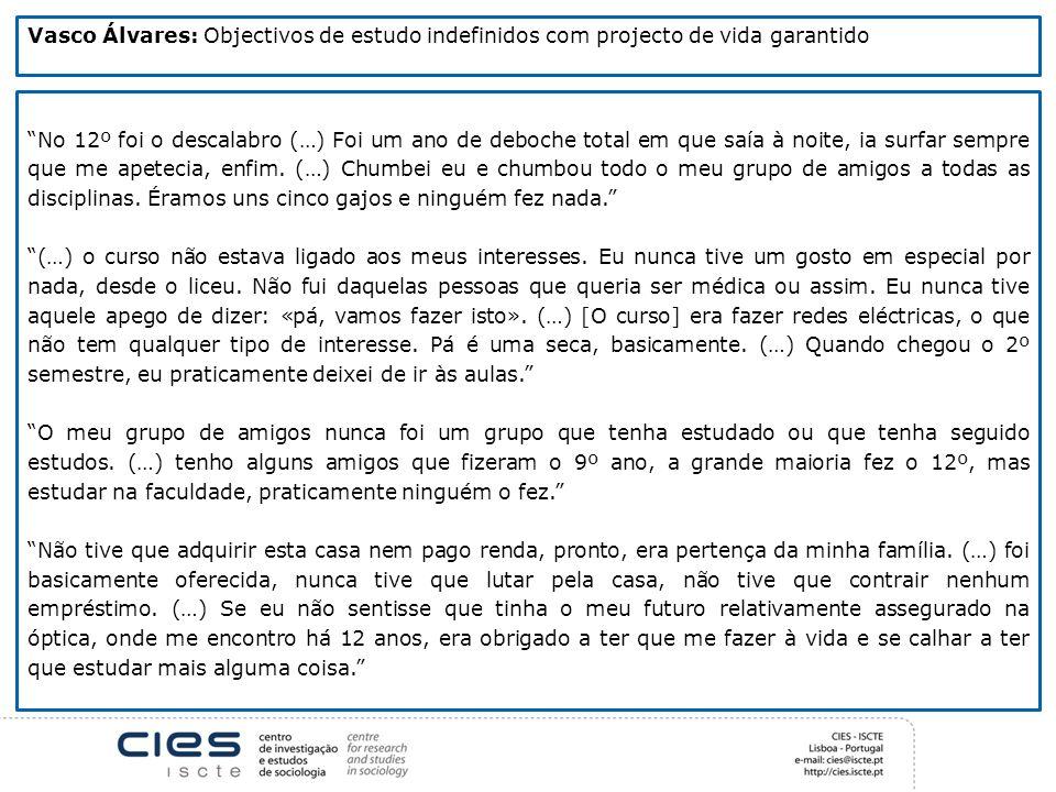 Vasco Álvares: Objectivos de estudo indefinidos com projecto de vida garantido