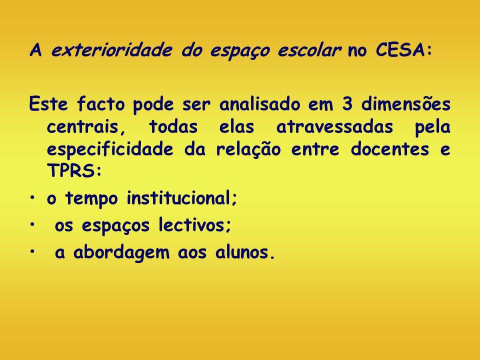 A exterioridade do espaço escolar no CESA: