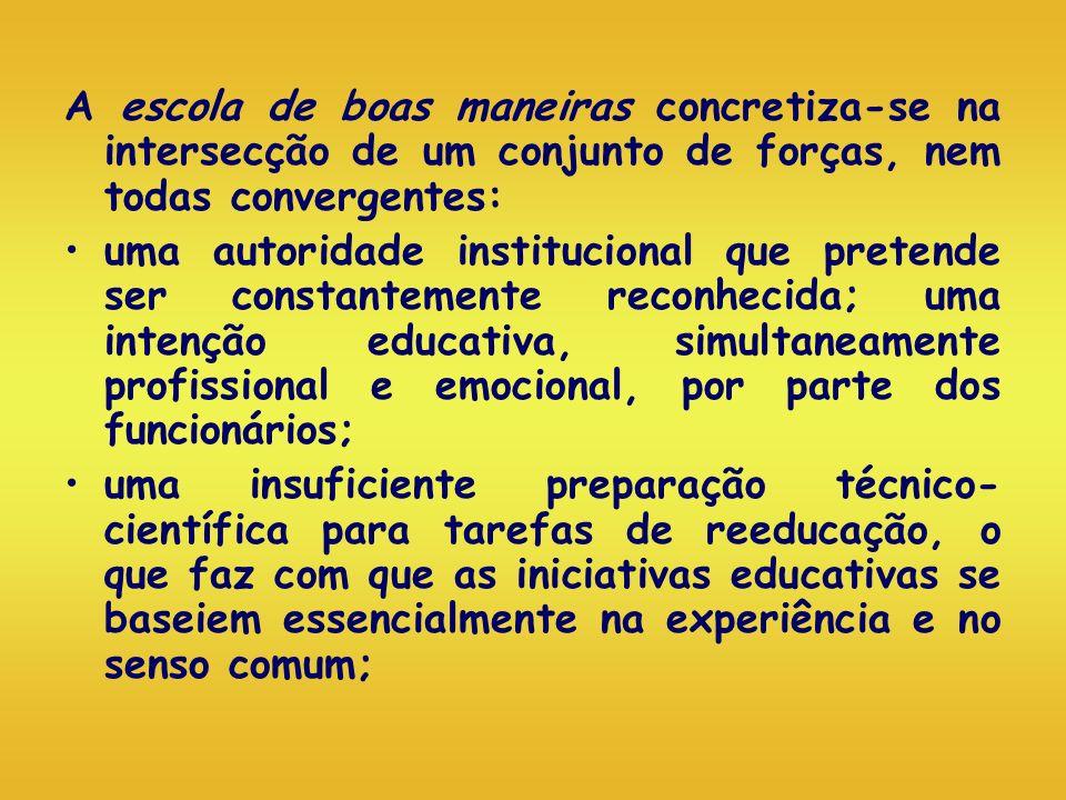 A escola de boas maneiras concretiza-se na intersecção de um conjunto de forças, nem todas convergentes: