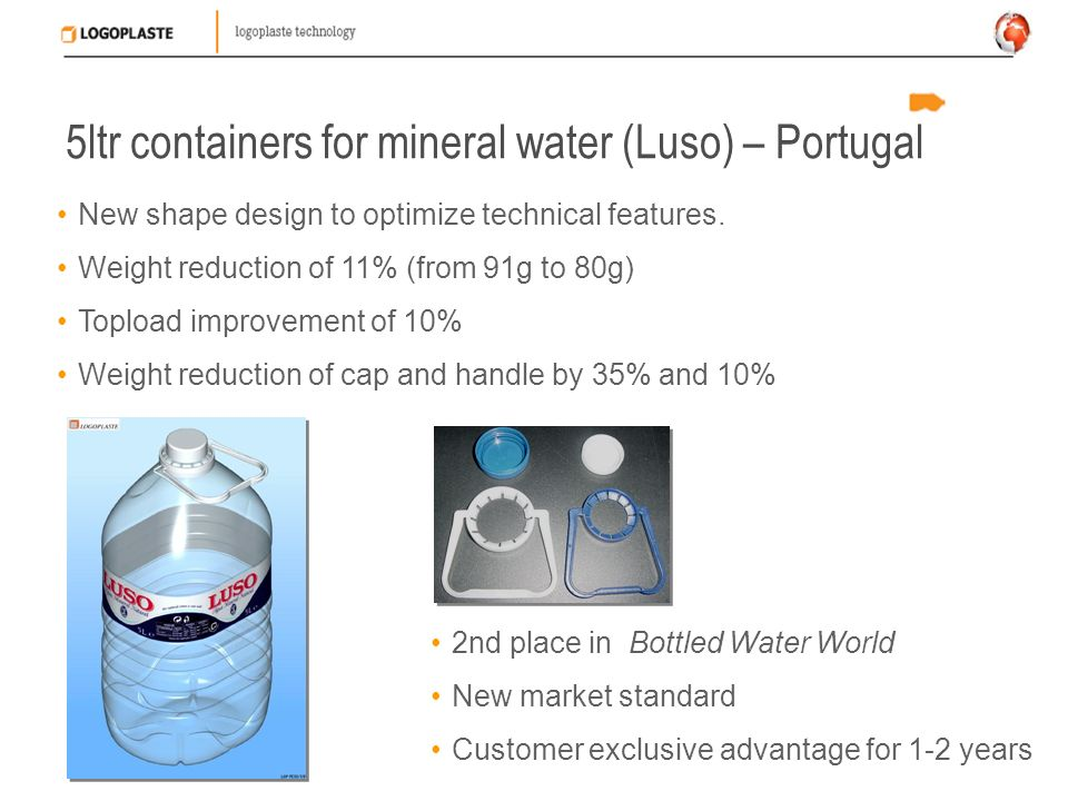 5ltr containers for mineral water (Luso) – Portugal