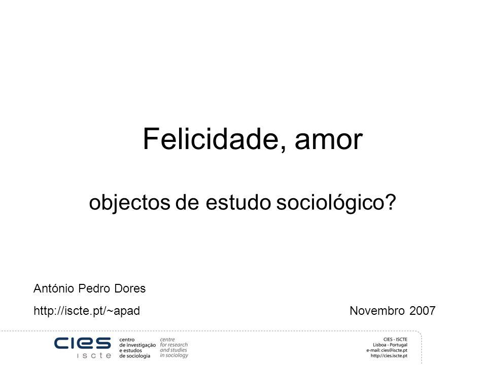 objectos de estudo sociológico