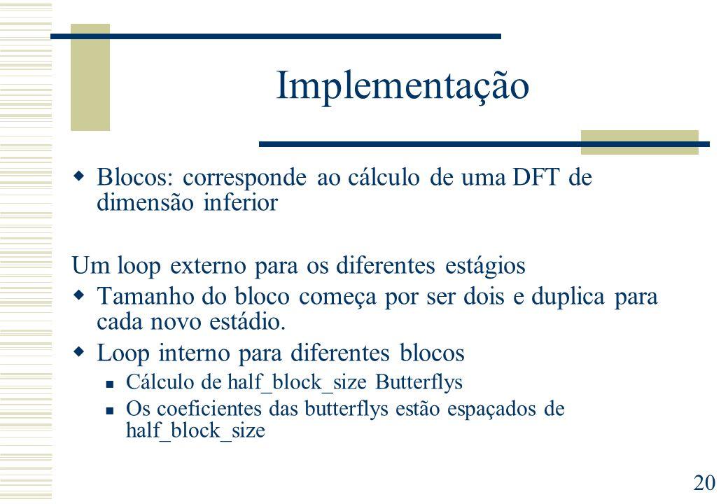 ImplementaçãoBlocos: corresponde ao cálculo de uma DFT de dimensão inferior. Um loop externo para os diferentes estágios.