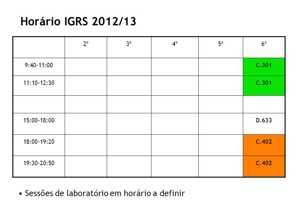 Horário IGRS 2012/13 Sessões de laboratório em horário a definir 2ª 3ª