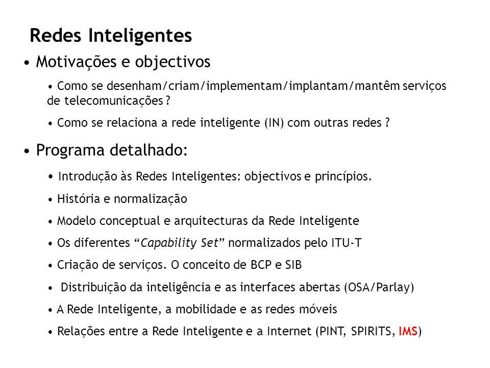 Redes Inteligentes Motivações e objectivos Programa detalhado:
