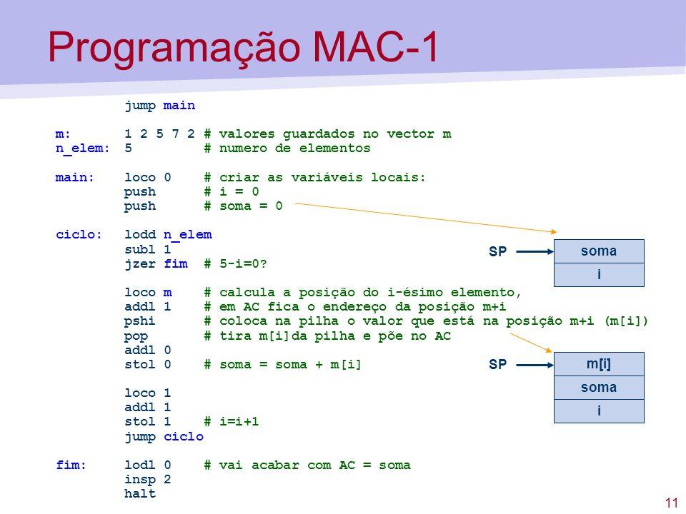 Programação MAC-1 jump main