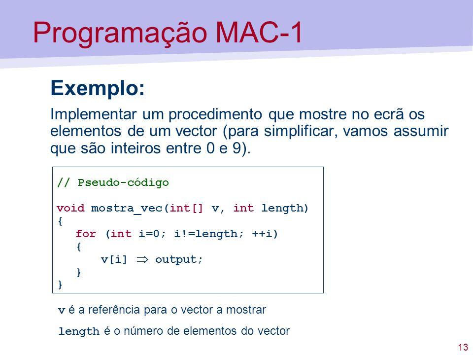 Programação MAC-1 Exemplo: