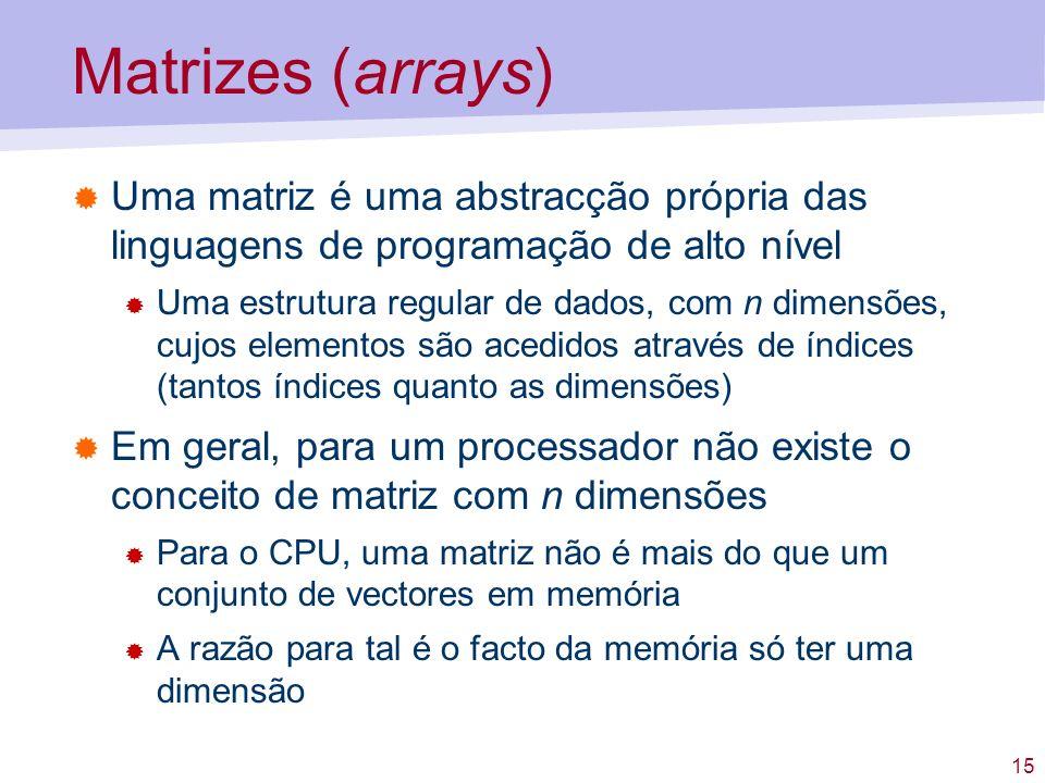 Matrizes (arrays) Uma matriz é uma abstracção própria das linguagens de programação de alto nível.