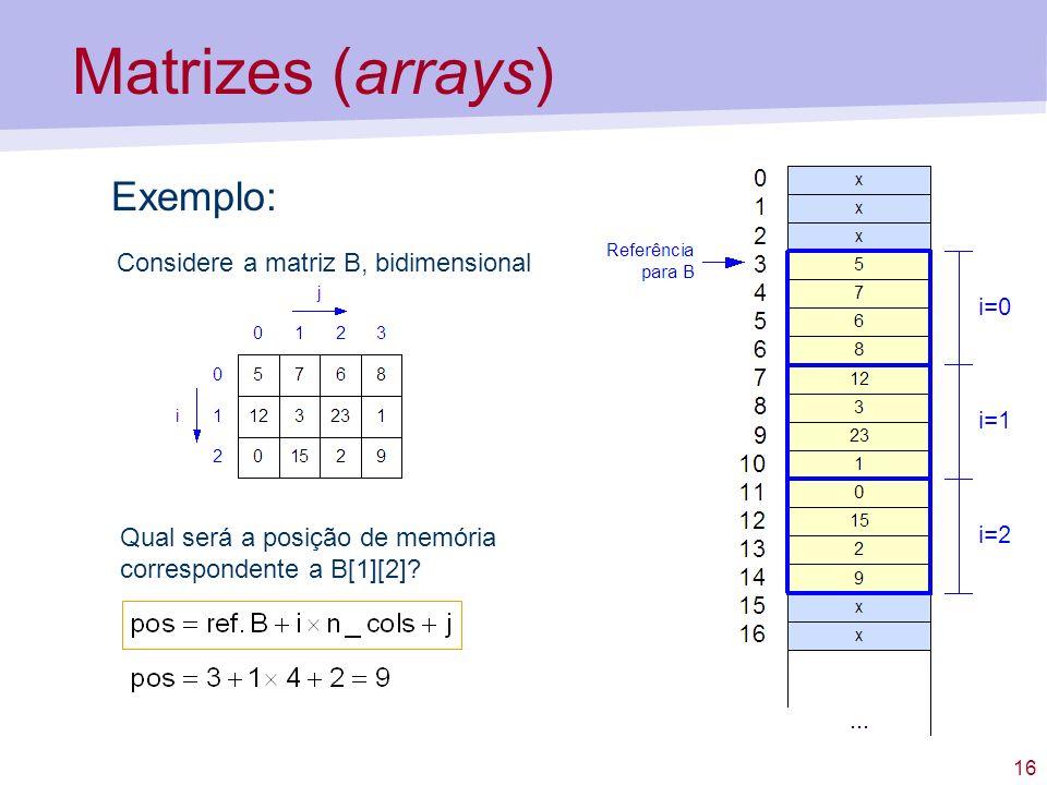 Matrizes (arrays) Exemplo: Considere a matriz B, bidimensional