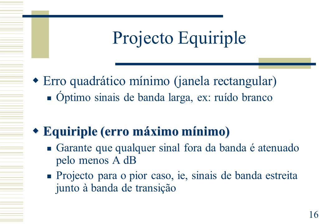 Projecto Equiriple Erro quadrático mínimo (janela rectangular)