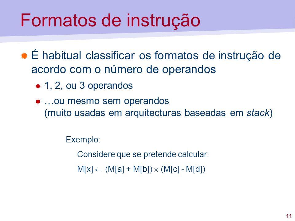 Formatos de instrução É habitual classificar os formatos de instrução de acordo com o número de operandos.