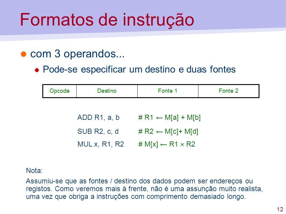 Formatos de instrução com 3 operandos...