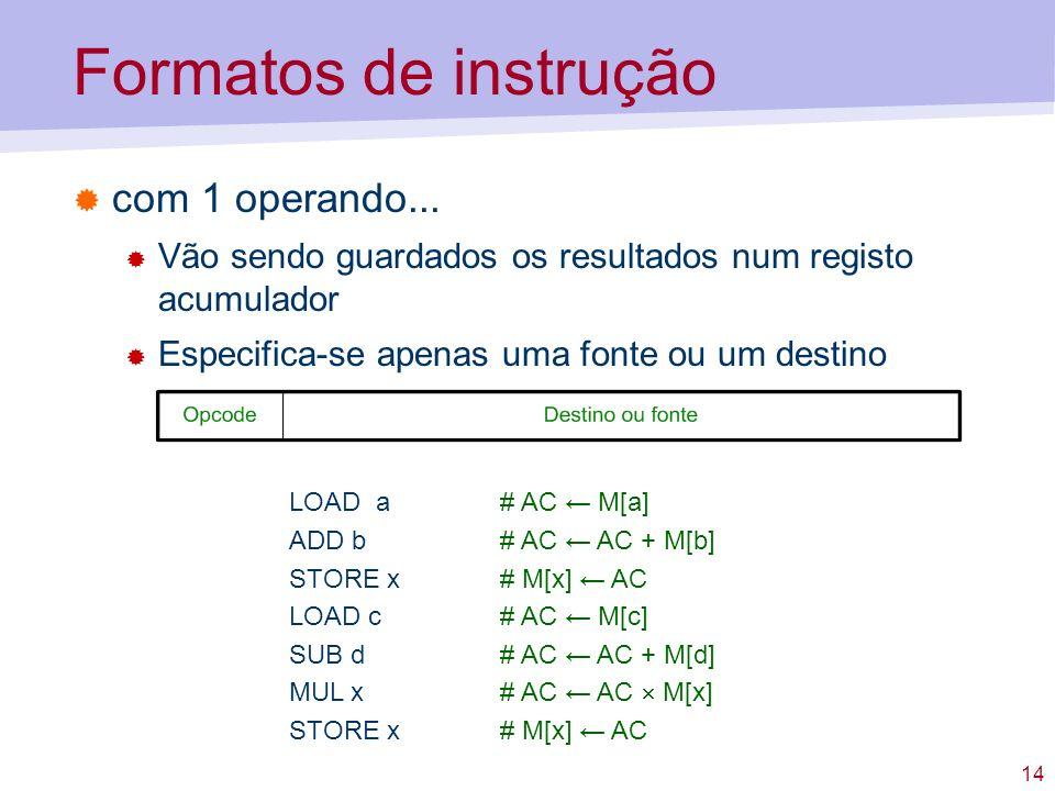 Formatos de instrução com 1 operando...