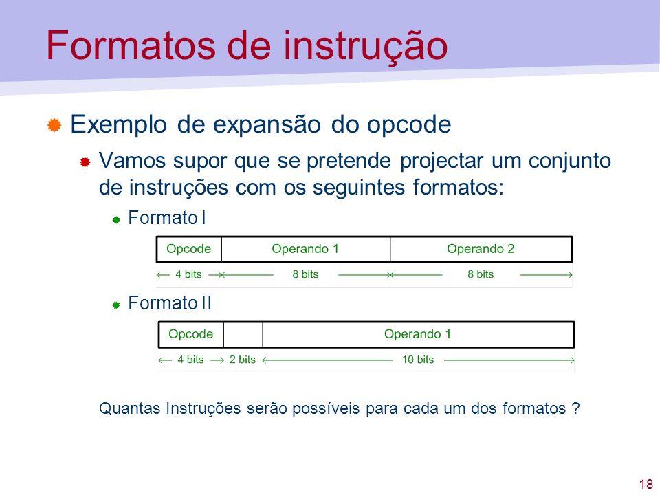 Formatos de instrução Exemplo de expansão do opcode