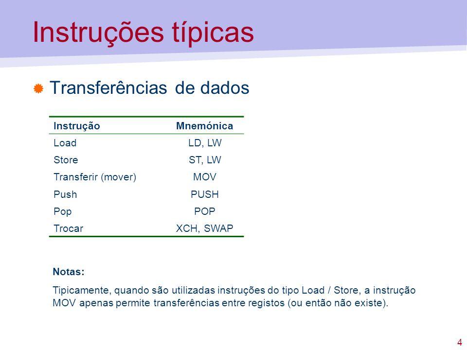 Instruções típicas Transferências de dados Instrução Mnemónica Load