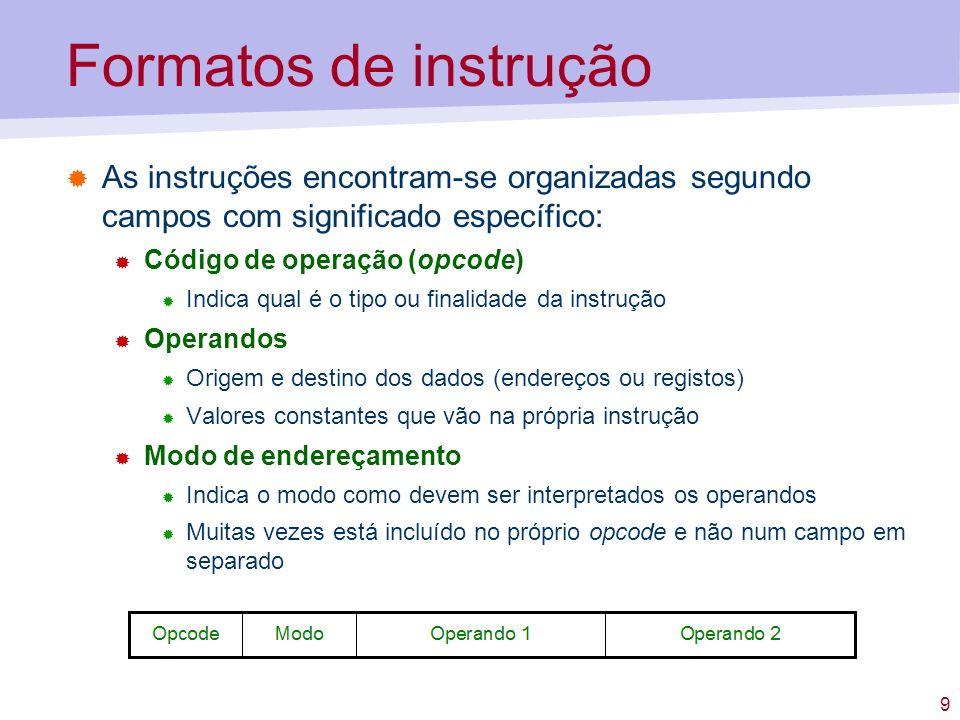 Formatos de instrução As instruções encontram-se organizadas segundo campos com significado específico:
