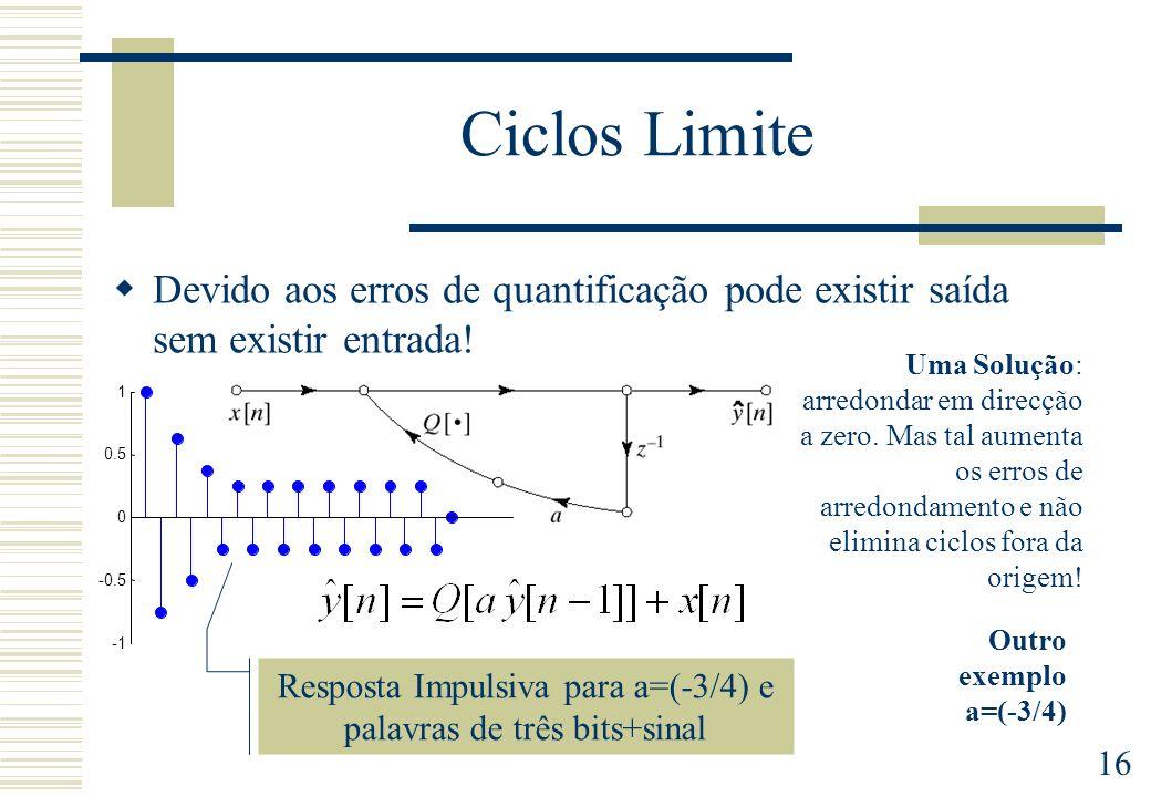 Resposta Impulsiva para a=(-3/4) e palavras de três bits+sinal