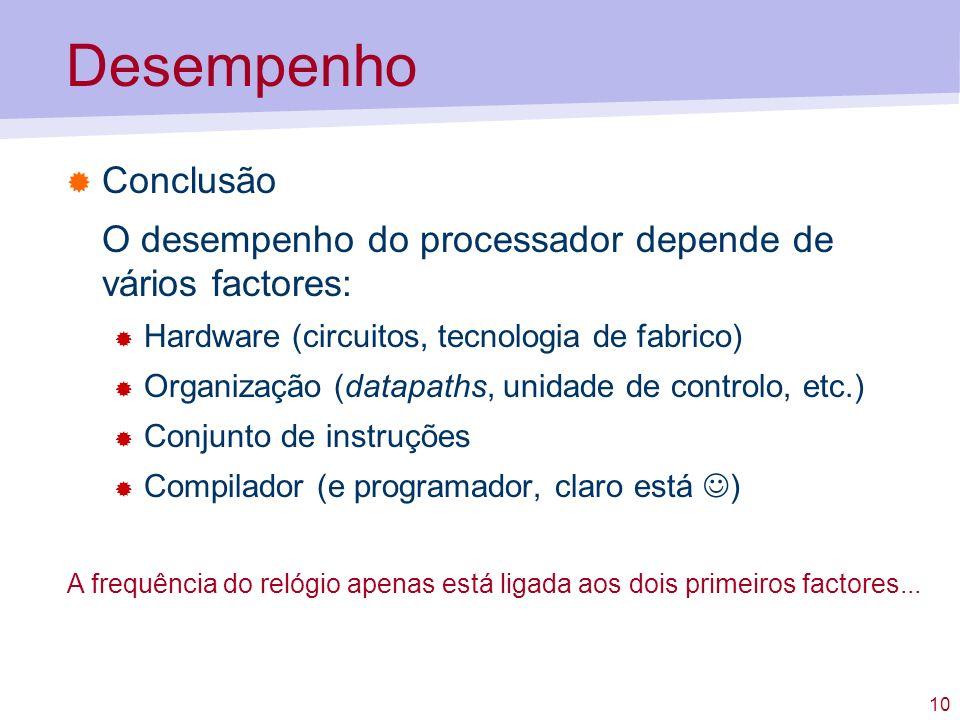 DesempenhoConclusão. O desempenho do processador depende de vários factores: Hardware (circuitos, tecnologia de fabrico)