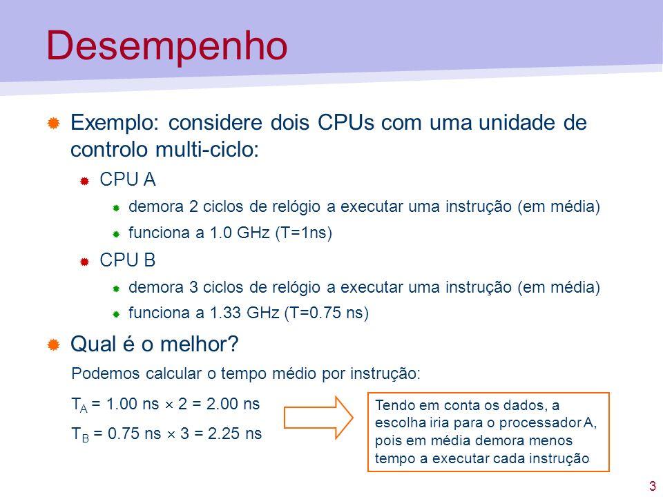 Desempenho Exemplo: considere dois CPUs com uma unidade de controlo multi-ciclo: CPU A.