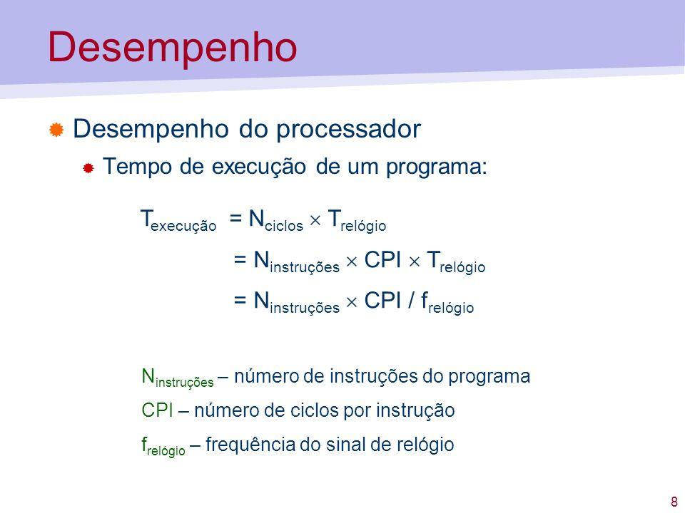 Desempenho Desempenho do processador Tempo de execução de um programa: