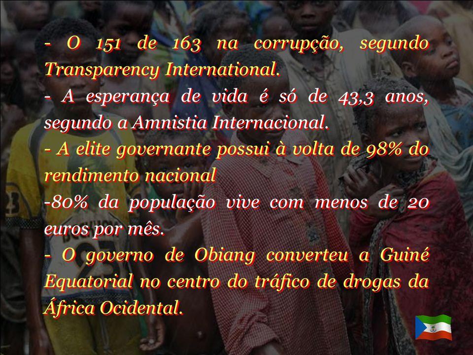 - O 151 de 163 na corrupção, segundo Transparency International.