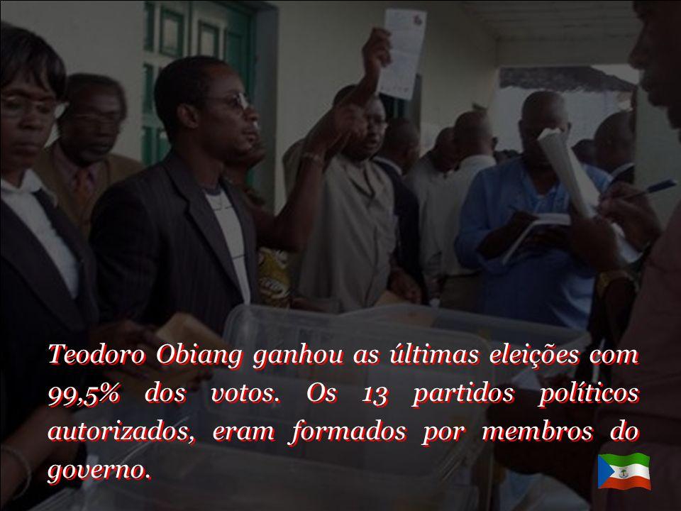 Teodoro Obiang ganhou as últimas eleições com 99,5% dos votos