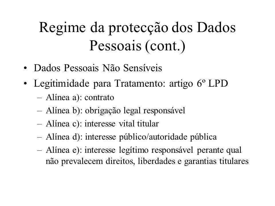 Regime da protecção dos Dados Pessoais (cont.)