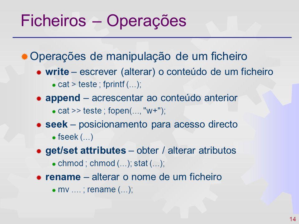 Ficheiros – Operações Operações de manipulação de um ficheiro