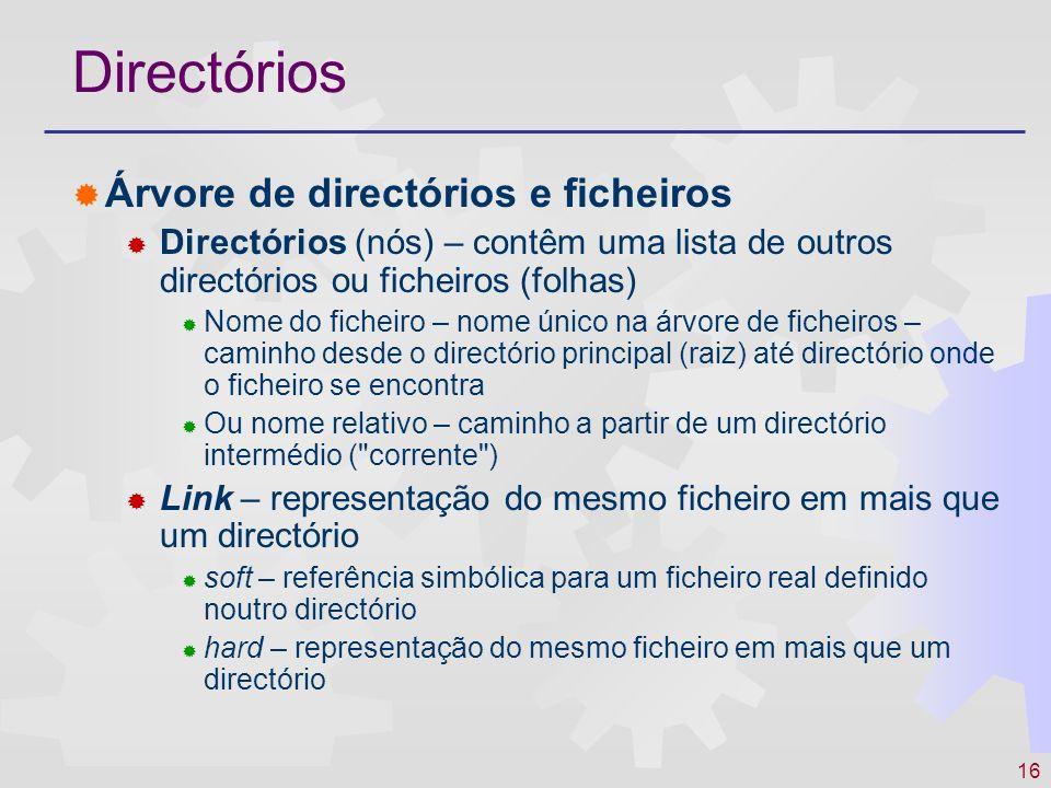 Directórios Árvore de directórios e ficheiros