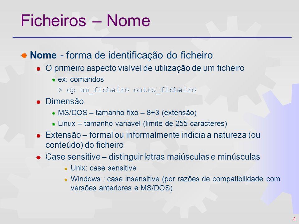 Ficheiros – Nome Nome - forma de identificação do ficheiro