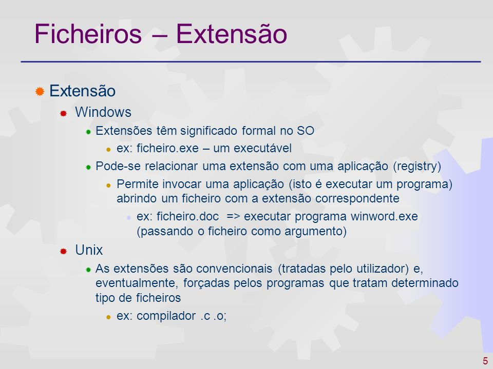 Ficheiros – Extensão Extensão Windows Unix