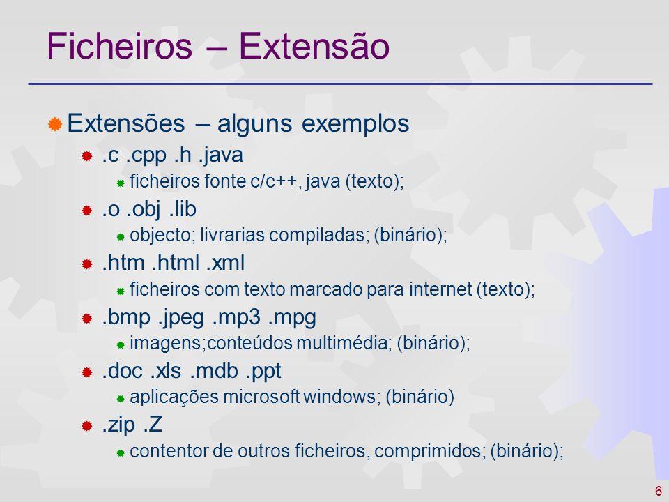 Ficheiros – Extensão Extensões – alguns exemplos .c .cpp .h .java