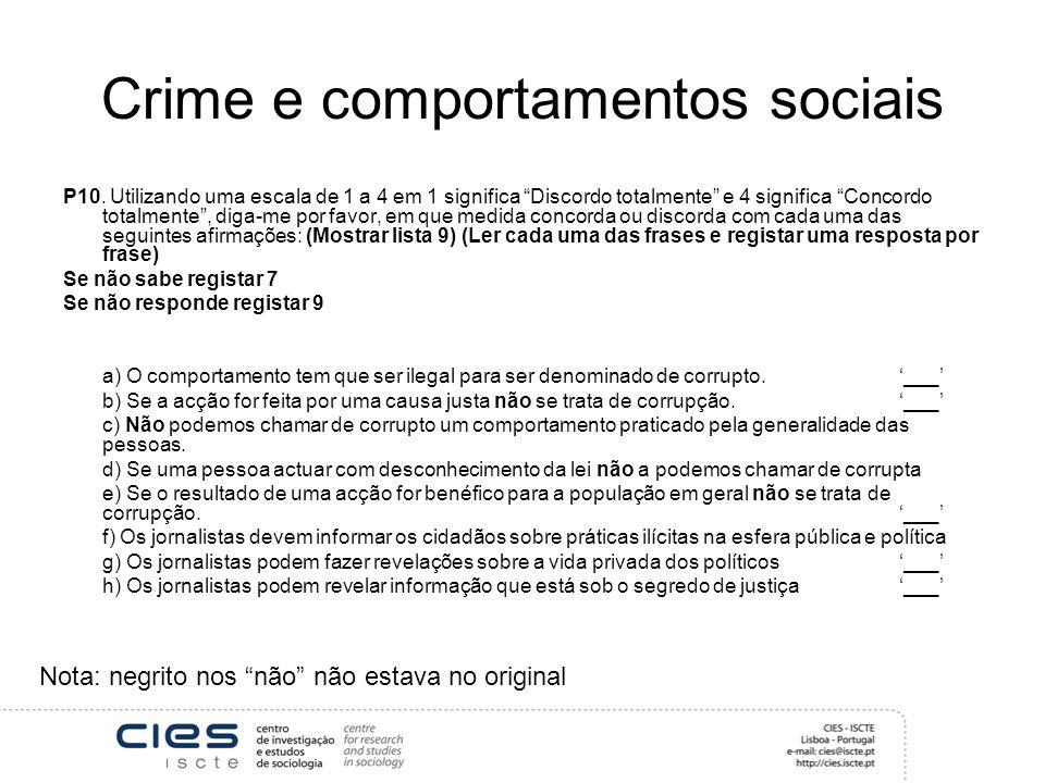 Crime e comportamentos sociais